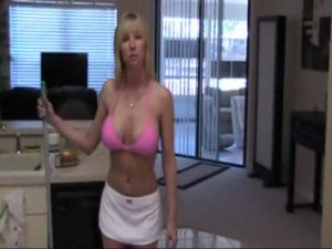 Blonde MILF in kitchen fuck